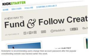 Kickstarter passwords hacked