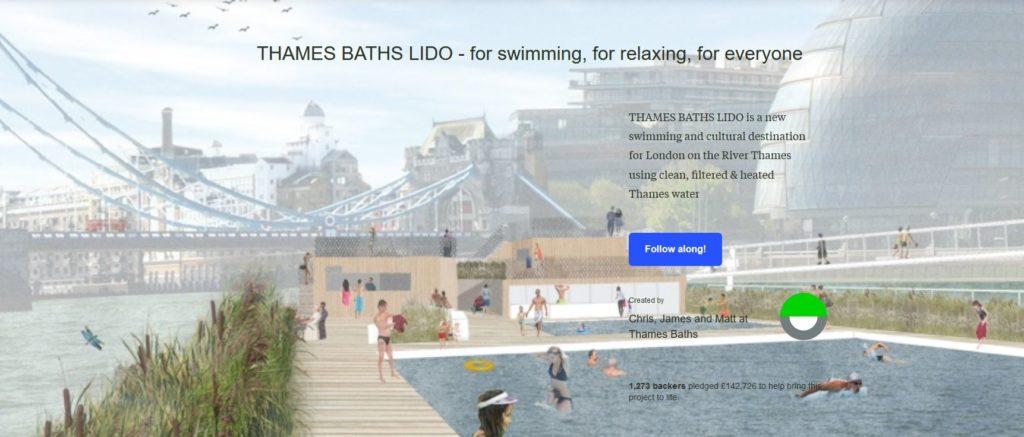 Thames Baths kickstarter home page