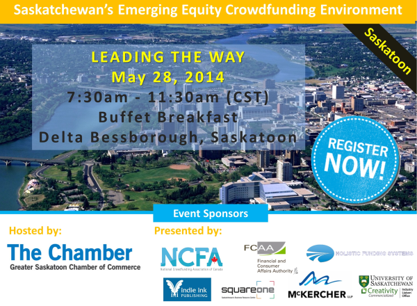 Emerging Equity Crowdunding Environment Leading the way final sponsor 600 - Event Saskatchewan (May 28, 2014):  Leading the Way - Emerging Equity Crowdfunding Environment