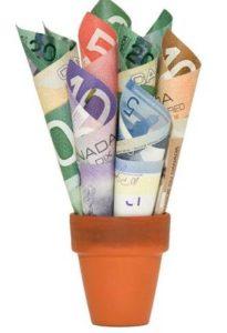 money in flower pot
