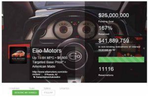 Elio motors Reg A+ crowdfunding - screen shot