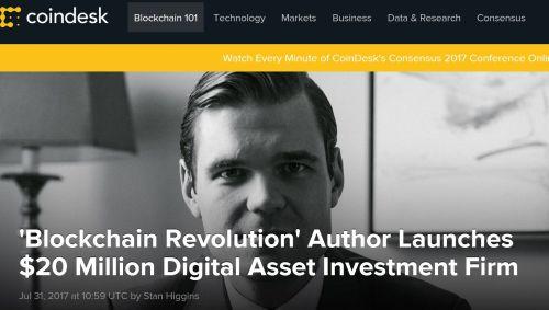 NextBlock Global - 'Blockchain Revolution' Author Launches $20 Million Digital Asset Investment Firm