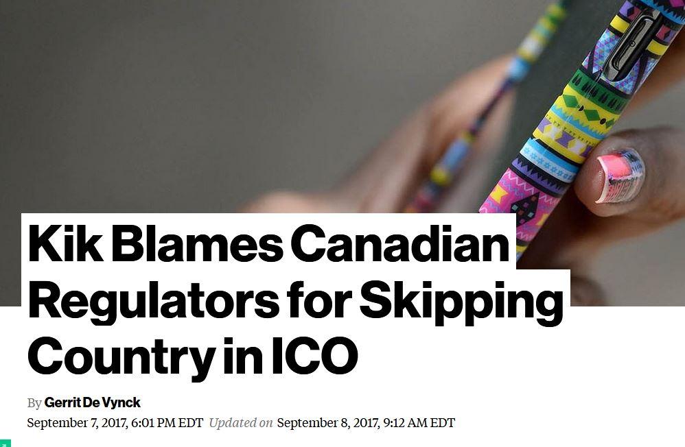 Kik Blames Canadian Regulators for Skipping Country in ICO