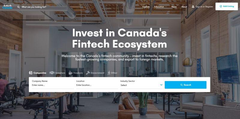 FintechCanada.io home resize - 2019 Canadian Fintech & Funding Directory